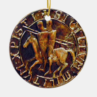 Medieval Seal of the Knights Templar Christmas Ornament