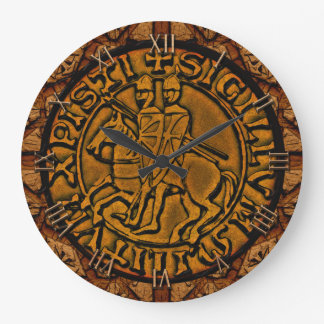 Medieval Seal of the Knights Templar Large Clock