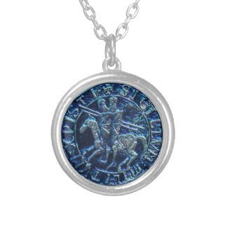 Medieval Seal of the Knights Templar Silver Plated Necklace