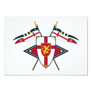 Medieval Shield and Flags RSVP Card Custom Invitation