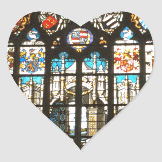 Medieval stained glass window, Holland Heart Sticker