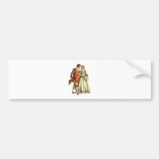 Medieval Style Illustration ~ Lord And Lady Bumper Sticker