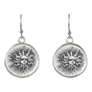 Medieval Sun Art Hook Earrings