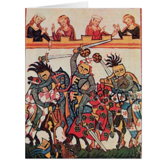 MEDIEVAL TOURNAMENT, FIGHTING KNIGHTS AND DAMSELS BIG GREETING CARD
