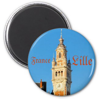 Medieval tower in Lille, France 6 Cm Round Magnet