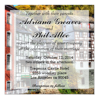 Medieval Village Monschau in Germany 5.25x5.25 Square Paper Invitation Card
