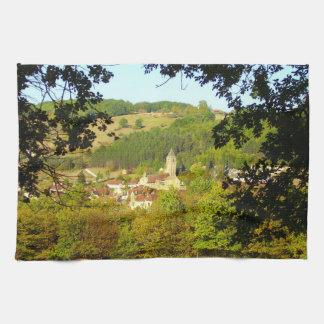 Medieval Village of Plazac Tea Towel