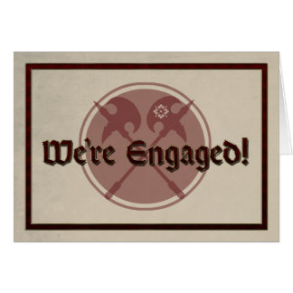 Medieval Wedding Announcement with Two Battle Axes Greeting Card