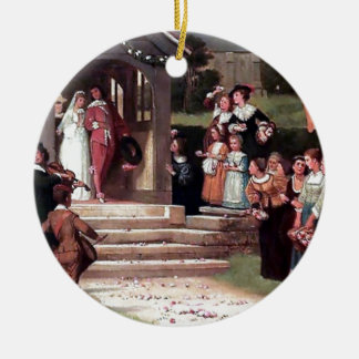 Medieval Wedding Bride Groom antique painting Christmas Ornament