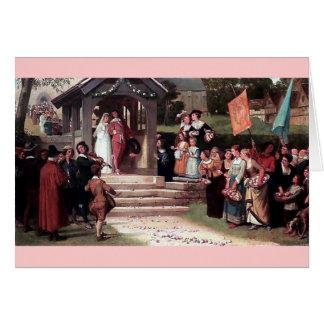 Medieval Wedding Bride Groom antique painting Greeting Card