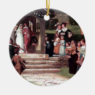 Medieval Wedding Bride Groom antique painting Round Ceramic Decoration
