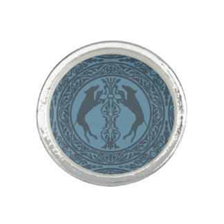 MEDIEVAL WEIM BLUE SILVER PLATED RING