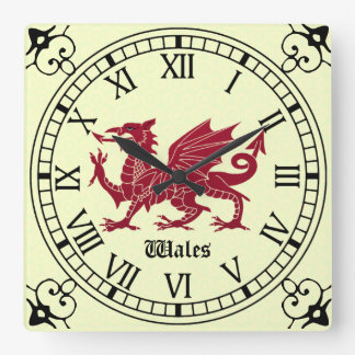 Medieval Welsh Dragon Wall Clock - Roman Numerals