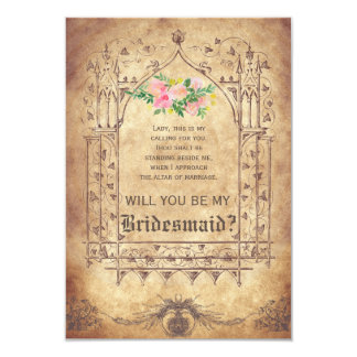 Medieval Will you be my Bridesmaid? 9 Cm X 13 Cm Invitation Card