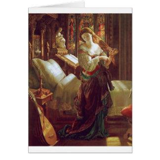 Medieval woman bedroom card
