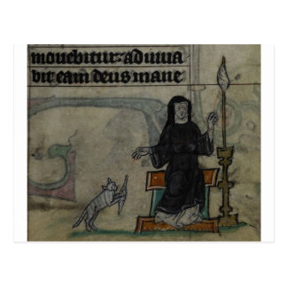 Medieval woman spinning with cat postcard