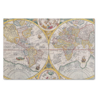 "Medieval World Map From 1525 10"" X 15"" Tissue Paper"