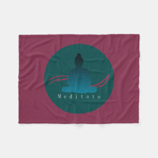 """Meditate"" Beautiful Buddha. Fleece Blanket"