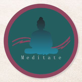 """Meditate"" Beautiful Buddha. Round Paper Coaster"