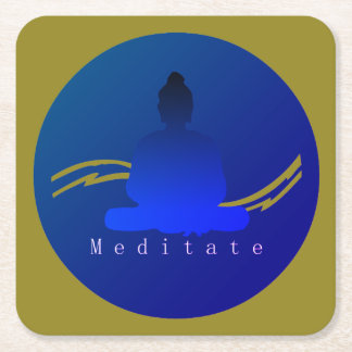 """Meditate"" Beautiful Buddha. Square Paper Coaster"