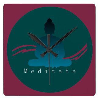"""Meditate"" Beautiful Buddha Wall Clock. Square Wall Clock"