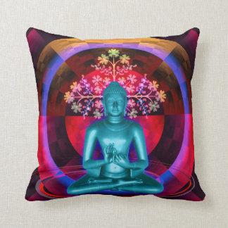 Meditating Blue Buddha Throw Pillow
