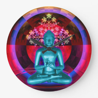 Meditating Blue Buddha Wall Clock