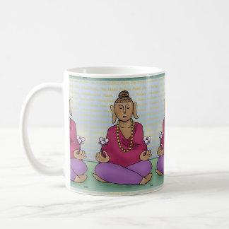 Meditating Buddha with Flowers on a Mug