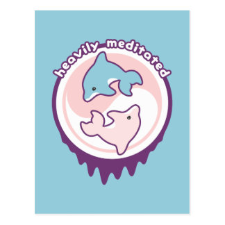 Meditating Dolphins with Yin Yang Postcard