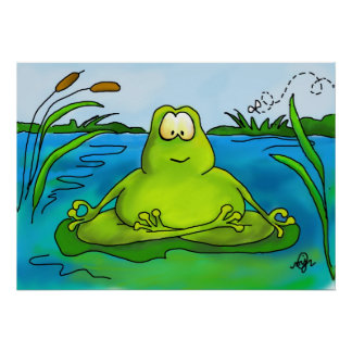Meditating frog art print or poster