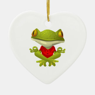 Meditating Frog in Red Shirt with Crossed Legs Christmas Ornament