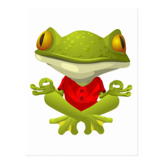 Meditating Frog in Red Shirt with Crossed Legs Postcard