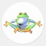 Meditating Frog Round Sticker