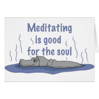 Meditating Hippopotamus Card
