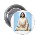 Meditating Jesus with Om Pinback Button