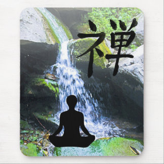 Meditating Silhouette by Waterfall Mouse Mat