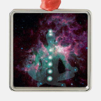 Meditating with the chakras activated. Silver-Colored square decoration