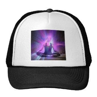 meditating yogi lady in indigo colors mesh hat