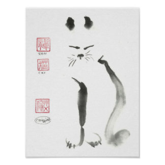 Meditating Zen Cat Poster