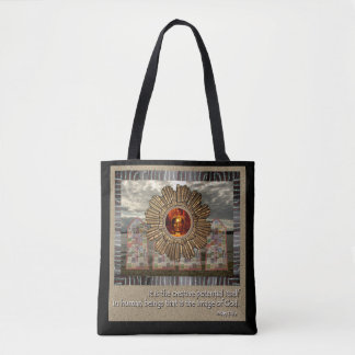 Meditation Beach tote bag with spiritual quote