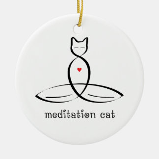 Meditation Cat - Fancy style text. Round Ceramic Decoration