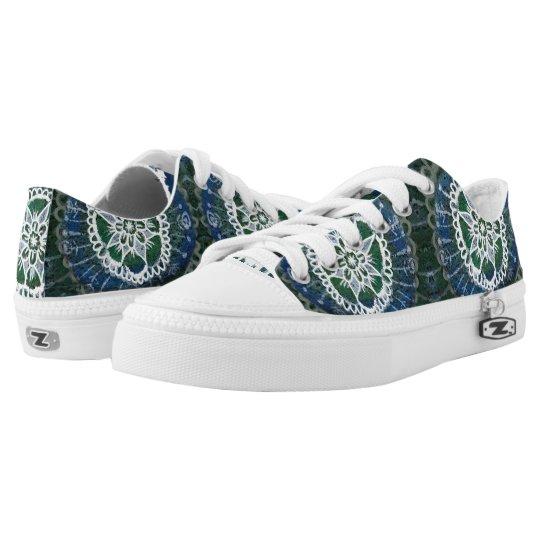 Meditation Custom Zipz Low Top Shoes White mandala
