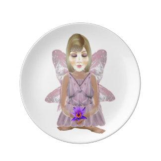 Meditation Fairy Small Porcelain Plate