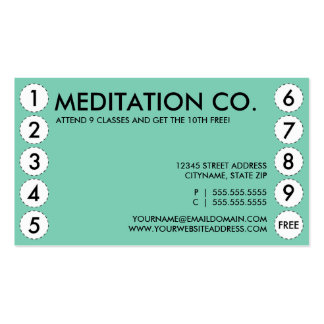 meditation punch card pack of standard business cards
