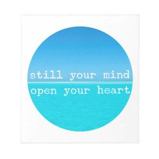 Meditation Quote Still Mind Open Heart Notepad