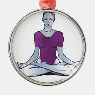 Meditation Silver-Colored Round Decoration