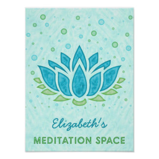 Meditation Space Blue Lotus Flower Zen | Name Poster