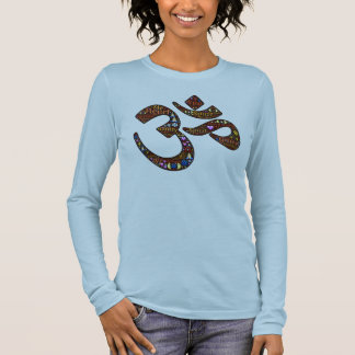 Meditation symbol, colorful emoji-decorated design long sleeve T-Shirt