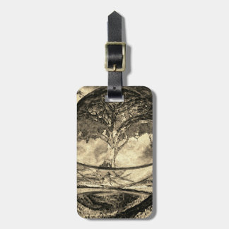 Meditation Tree of Life in Gold Luggage Tag