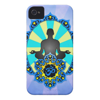 Meditation Yoga Aum, blue and yellow iPhone 4 Case